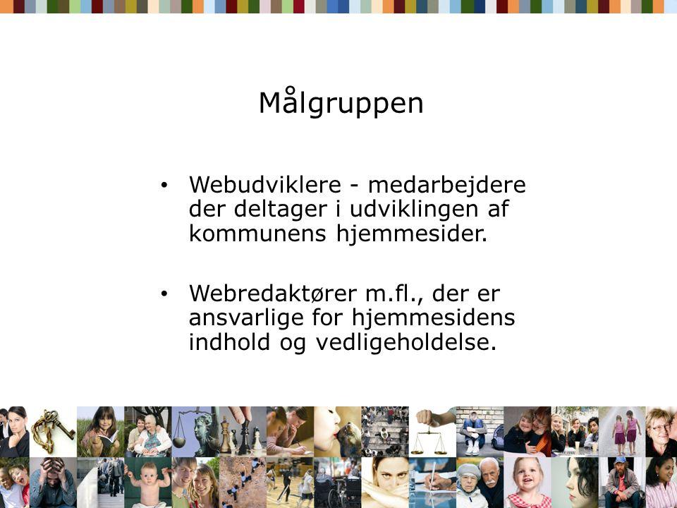 Målgruppen Webudviklere - medarbejdere der deltager i udviklingen af kommunens hjemmesider.
