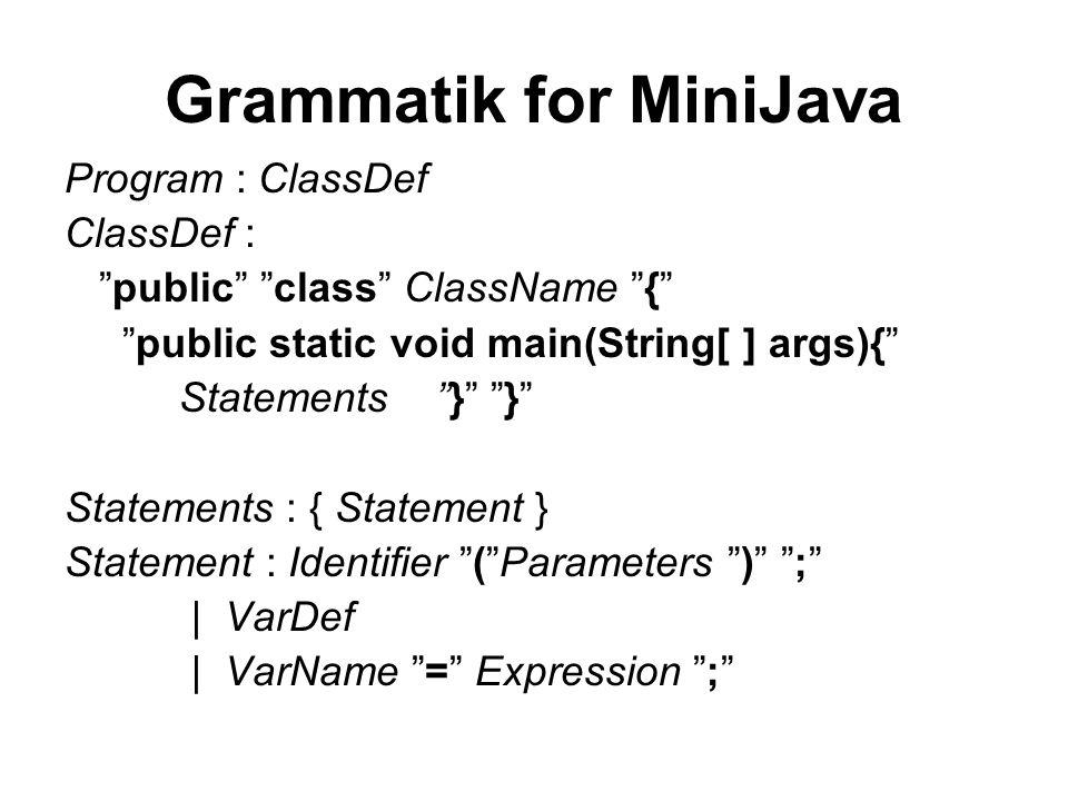 Grammatik for MiniJava Program : ClassDef ClassDef : public class ClassName { public static void main(String[ ] args){ Statements } } Statements : { Statement } Statement : Identifier ( Parameters ) ; | VarDef | VarName = Expression ;