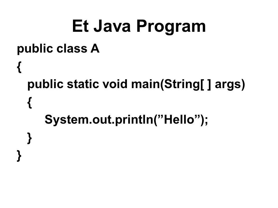 Et Java Program public class A { public static void main(String[ ] args) { System.out.println( Hello ); }