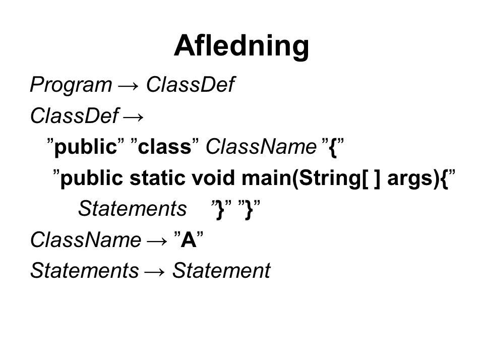Afledning Program → ClassDef ClassDef → public class ClassName { public static void main(String[ ] args){ Statements } } ClassName → A Statements → Statement