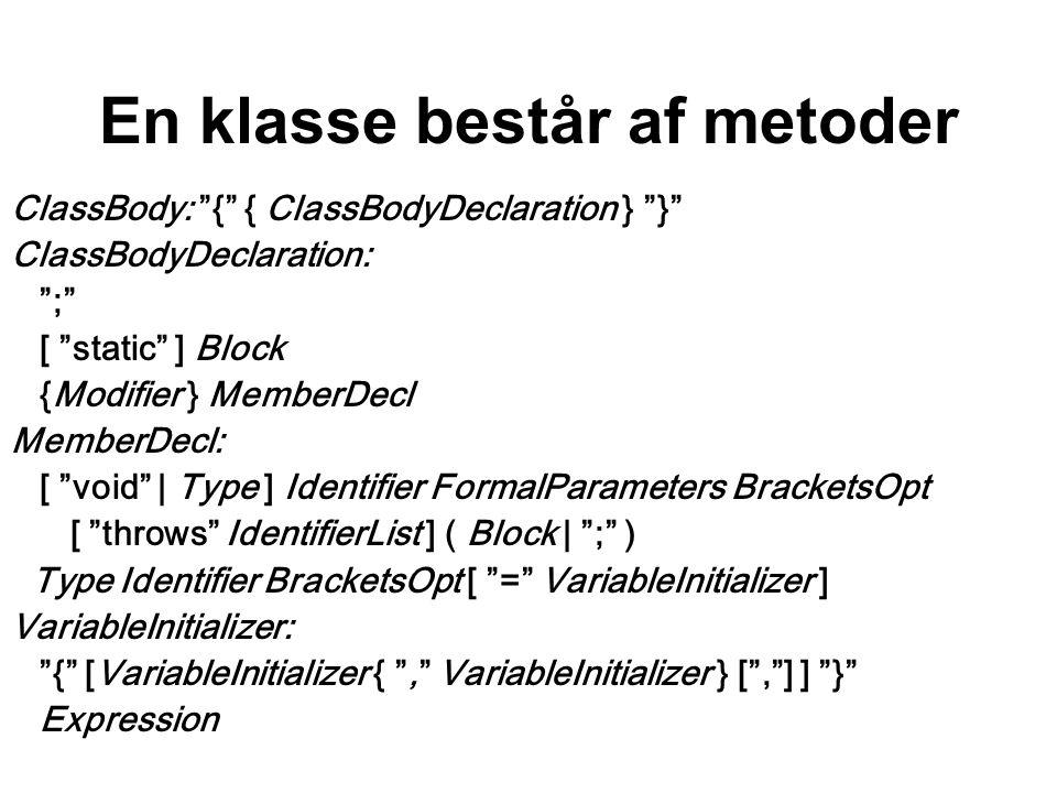 En klasse består af metoder ClassBody: { { ClassBodyDeclaration } } ClassBodyDeclaration: ; [ static ] Block {Modifier } MemberDecl MemberDecl: [ void | Type ] Identifier FormalParameters BracketsOpt [ throws IdentifierList ] ( Block | ; ) Type Identifier BracketsOpt [ = VariableInitializer ] VariableInitializer: { [VariableInitializer { , VariableInitializer } [ , ] ] } Expression