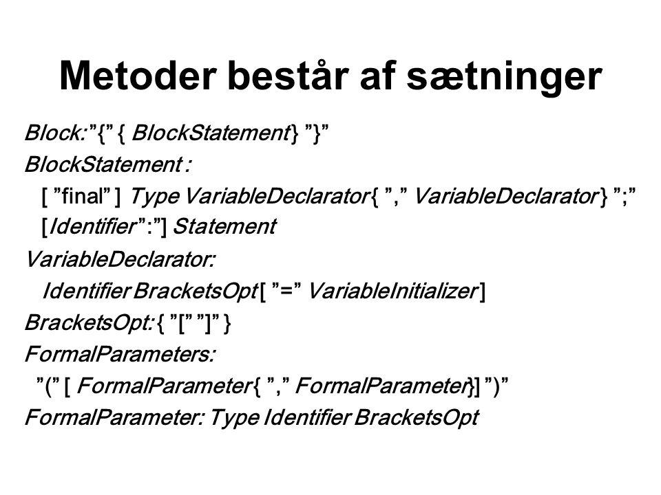 Metoder består af sætninger Block: { { BlockStatement } } BlockStatement : [ final ] Type VariableDeclarator { , VariableDeclarator } ; [Identifier : ] Statement VariableDeclarator: Identifier BracketsOpt [ = VariableInitializer ] BracketsOpt: { [ ] } FormalParameters: ( [ FormalParameter { , FormalParameter}] ) FormalParameter: Type Identifier BracketsOpt
