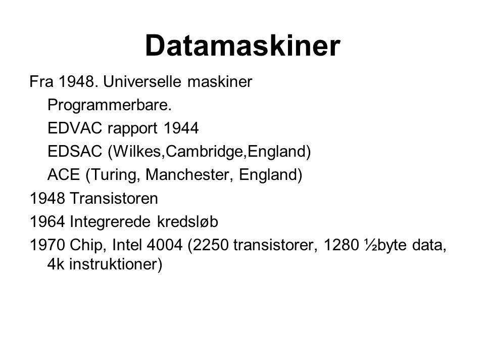Datamaskiner Fra 1948. Universelle maskiner Programmerbare.