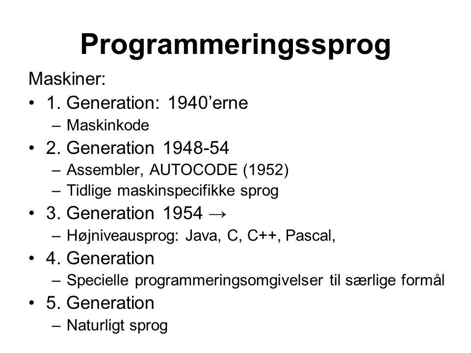 Programmeringssprog Maskiner: 1. Generation: 1940'erne –Maskinkode 2.