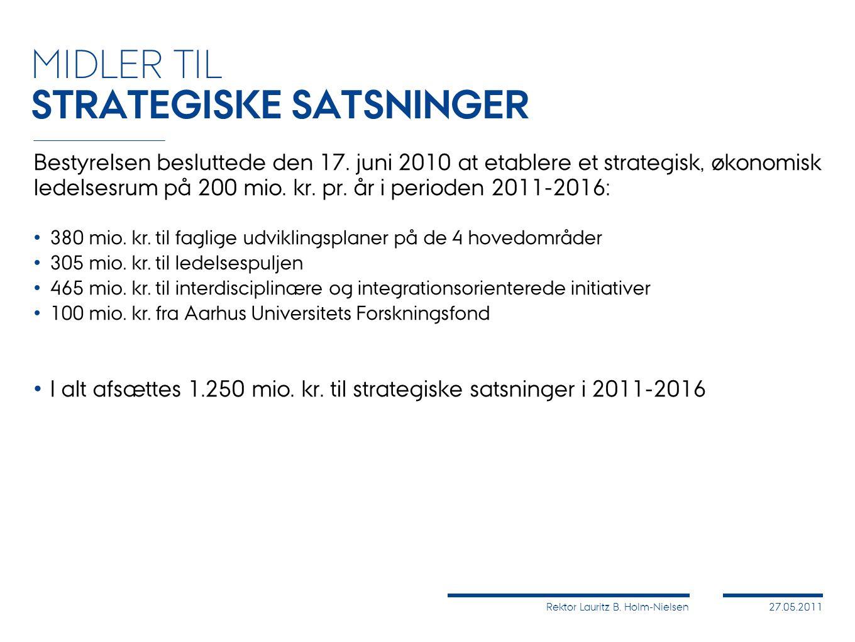 Rektor Lauritz B. Holm-Nielsen27.05.2011 Bestyrelsen besluttede den 17.