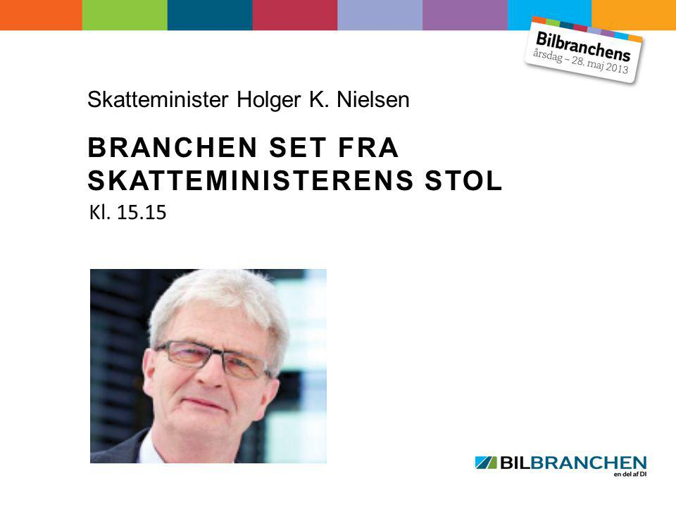 Skatteminister Holger K. Nielsen BRANCHEN SET FRA SKATTEMINISTERENS STOL Kl. 15.15