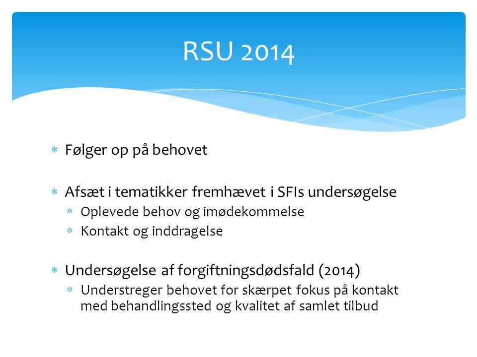  Følger op på behovet  Afsæt i tematikker fremhævet i SFIs undersøgelse  Oplevede behov og imødekommelse  Kontakt og inddragelse  Undersøgelse af forgiftningsdødsfald (2014)  Understreger behovet for skærpet fokus på kontakt med behandlingssted og kvalitet af samlet tilbud RSU 2014