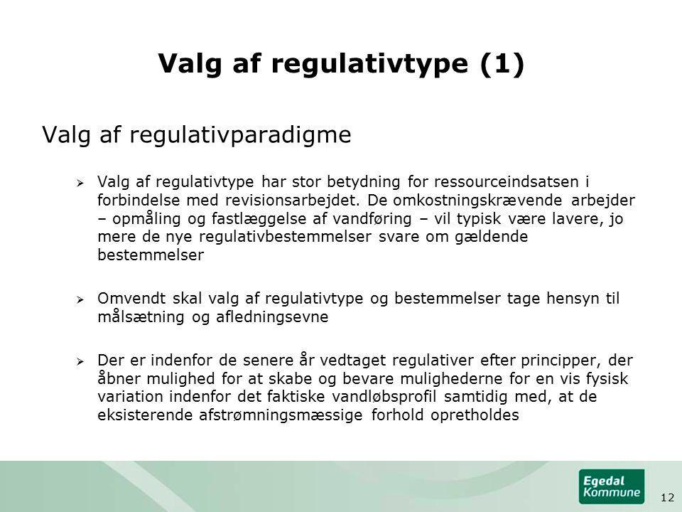 Valg af regulativtype (1) Valg af regulativparadigme  Valg af regulativtype har stor betydning for ressourceindsatsen i forbindelse med revisionsarbejdet.