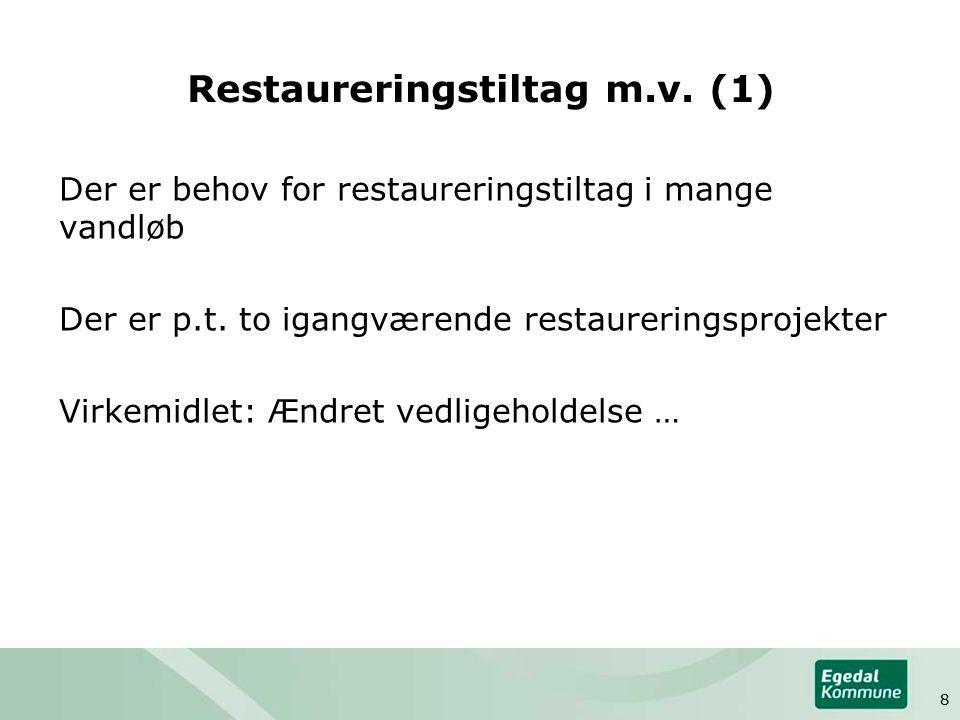 Restaureringstiltag m.v. (1) Der er behov for restaureringstiltag i mange vandløb Der er p.t.
