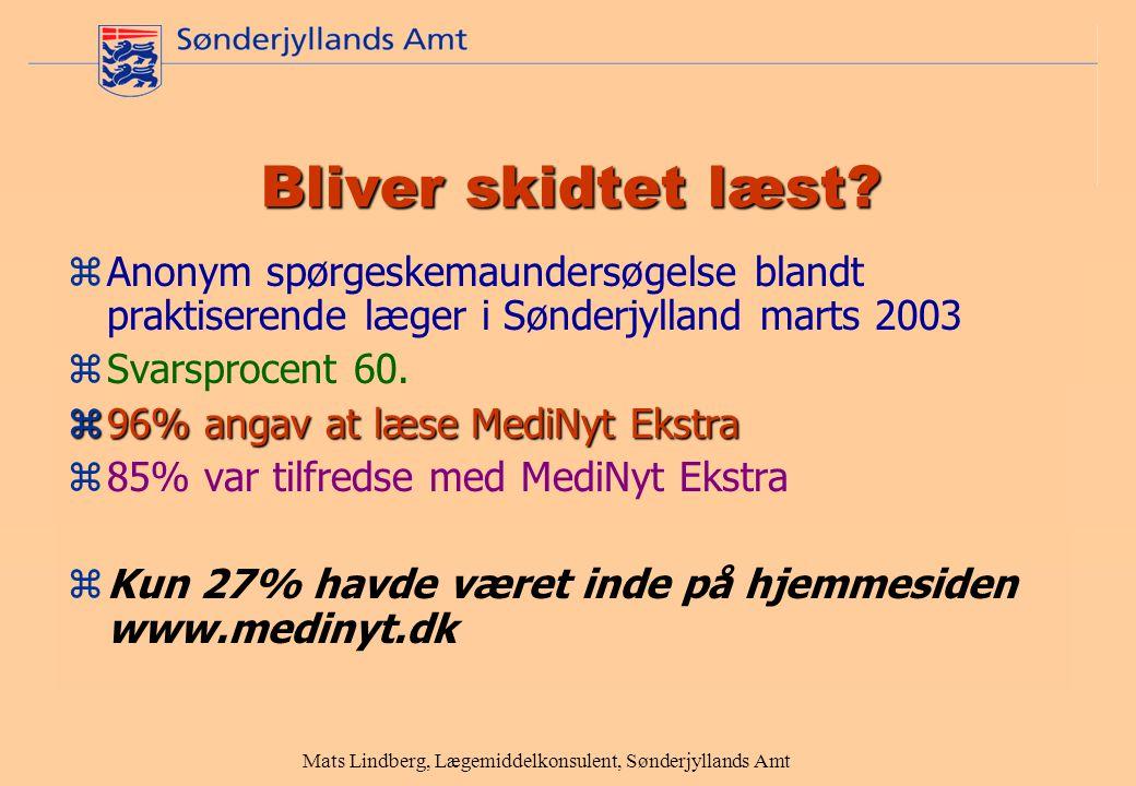 Mats Lindberg, Lægemiddelkonsulent, Sønderjyllands Amt Bliver skidtet læst.