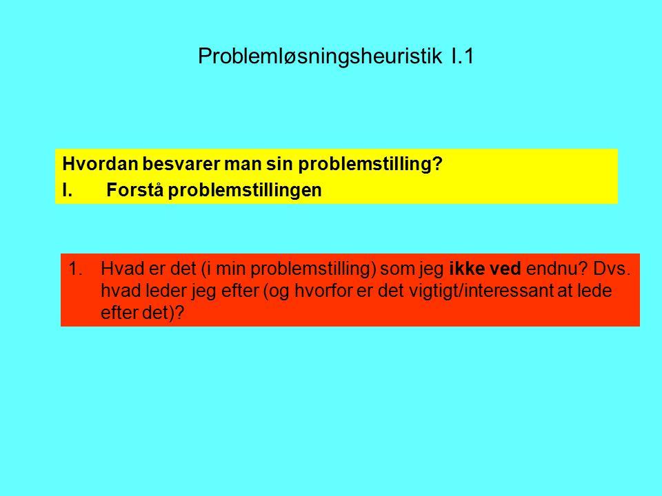 Problemløsningsheuristik I.1 1.Hvad er det (i min problemstilling) som jeg ikke ved endnu.