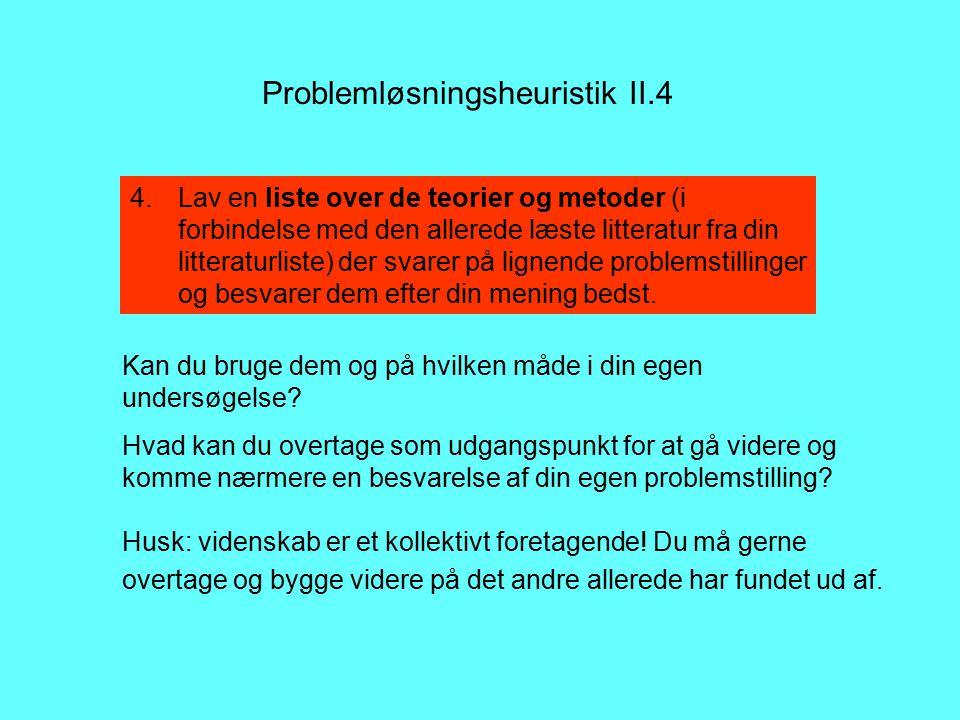 Problemløsningsheuristik II.4 Kan du bruge dem og på hvilken måde i din egen undersøgelse.