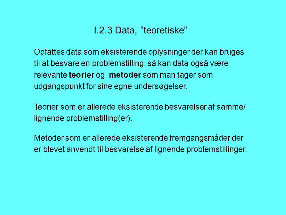 I.2.3 Data, teoretiske Opfattes data som eksisterende oplysninger der kan bruges til at besvare en problemstilling, så kan data også være relevante teorier og metoder som man tager som udgangspunkt for sine egne undersøgelser.