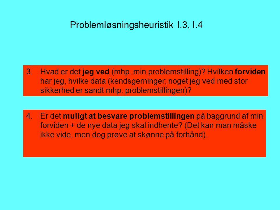 Problemløsningsheuristik I.3, I.4 3.Hvad er det jeg ved (mhp.