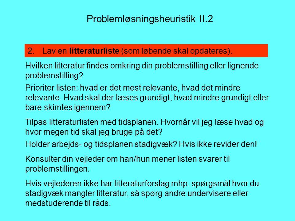 Problemløsningsheuristik II.2 2.Lav en litteraturliste (som løbende skal opdateres).