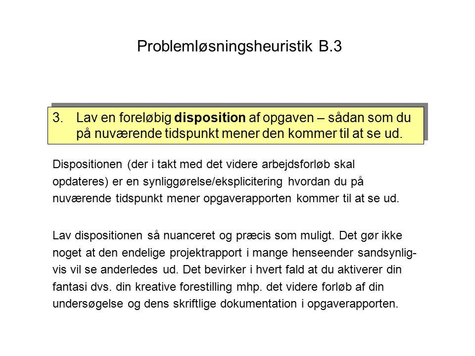 Problemløsningsheuristik B.3 Dispositionen (der i takt med det videre arbejdsforløb skal opdateres) er en synliggørelse/eksplicitering hvordan du på nuværende tidspunkt mener opgaverapporten kommer til at se ud.