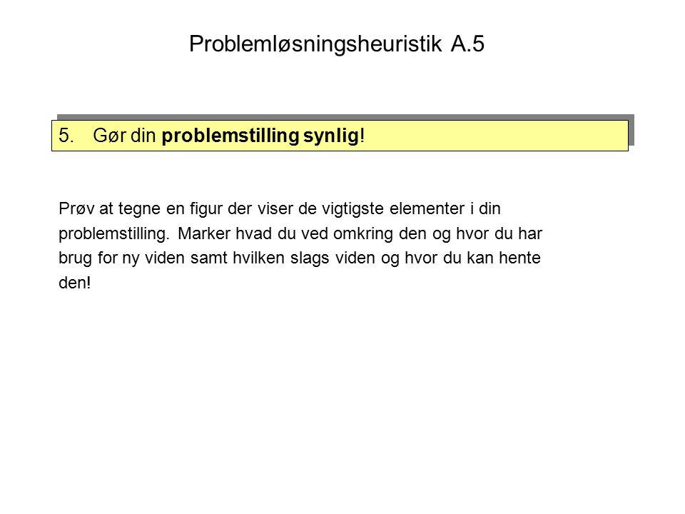 Problemløsningsheuristik A.5 5.Gør din problemstilling synlig.
