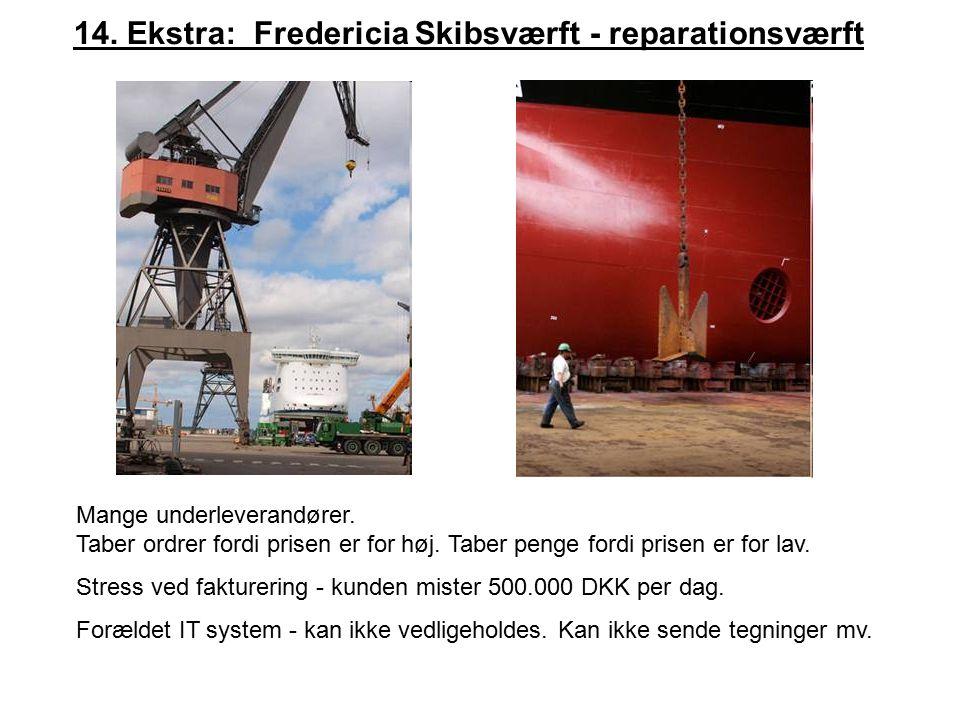 14. Ekstra: Fredericia Skibsværft - reparationsværft Mange underleverandører.