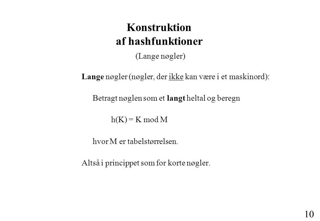 10 Konstruktion af hashfunktioner (Lange nøgler) Lange nøgler (nøgler, der ikke kan være i et maskinord): Betragt nøglen som et langt heltal og beregn h(K) = K mod M hvor M er tabelstørrelsen.