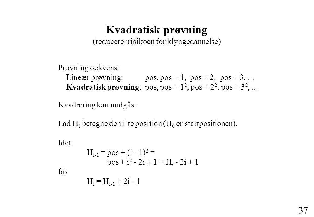 37 Kvadratisk prøvning (reducerer risikoen for klyngedannelse) Prøvningssekvens: Lineær prøvning: pos, pos + 1, pos + 2, pos + 3,...