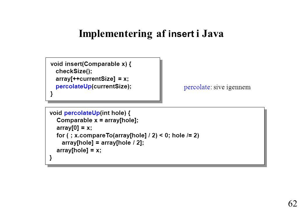 62 Implementering af insert i Java void insert(Comparable x) { checkSize(); array[++currentSize] = x; percolateUp(currentSize); } void percolateUp(int hole) { Comparable x = array[hole]; array[0] = x; for ( ; x.compareTo(array[hole] / 2) < 0; hole /= 2) array[hole] = array[hole / 2]; array[hole] = x; } percolate: sive igennem