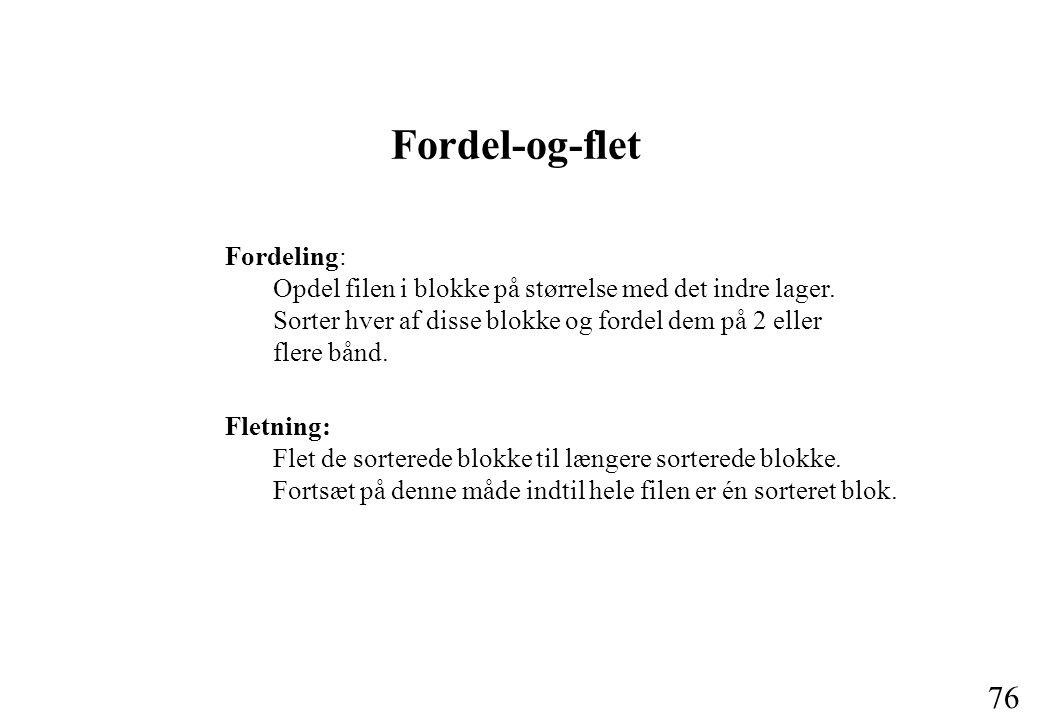 76 Fordel-og-flet Fordeling: Opdel filen i blokke på størrelse med det indre lager.