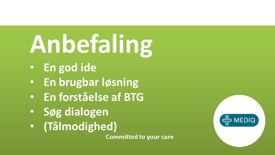 Anbefaling En god ide En brugbar løsning En forståelse af BTG Søg dialogen (Tålmodighed) Committed to your care