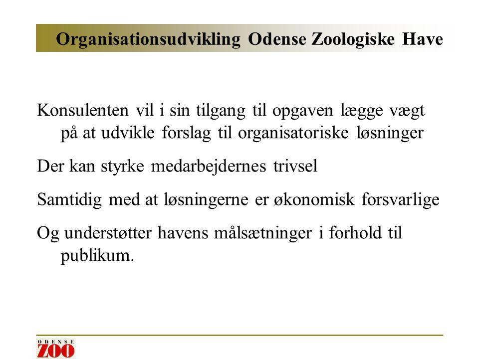 Organisationsudvikling Odense Zoologiske Have Konsulenten vil i sin tilgang til opgaven lægge vægt på at udvikle forslag til organisatoriske løsninger Der kan styrke medarbejdernes trivsel Samtidig med at løsningerne er økonomisk forsvarlige Og understøtter havens målsætninger i forhold til publikum.