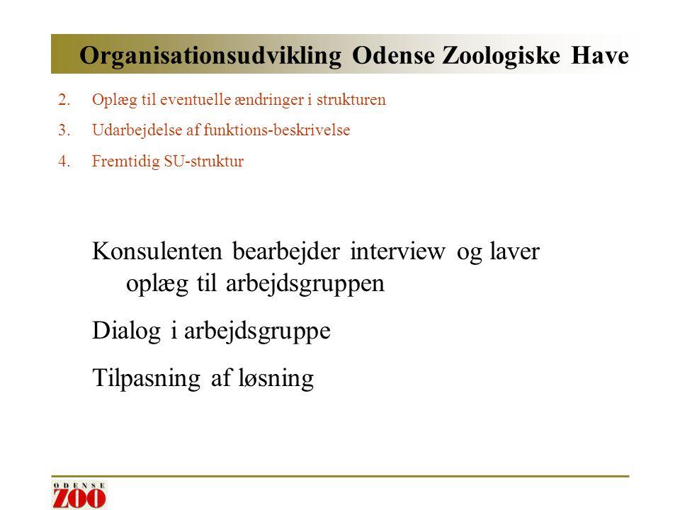 Organisationsudvikling Odense Zoologiske Have 2.Oplæg til eventuelle ændringer i strukturen 3.Udarbejdelse af funktions-beskrivelse 4.Fremtidig SU-struktur Konsulenten bearbejder interview og laver oplæg til arbejdsgruppen Dialog i arbejdsgruppe Tilpasning af løsning