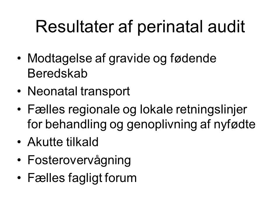 Resultater af perinatal audit Modtagelse af gravide og fødende Beredskab Neonatal transport Fælles regionale og lokale retningslinjer for behandling og genoplivning af nyfødte Akutte tilkald Fosterovervågning Fælles fagligt forum