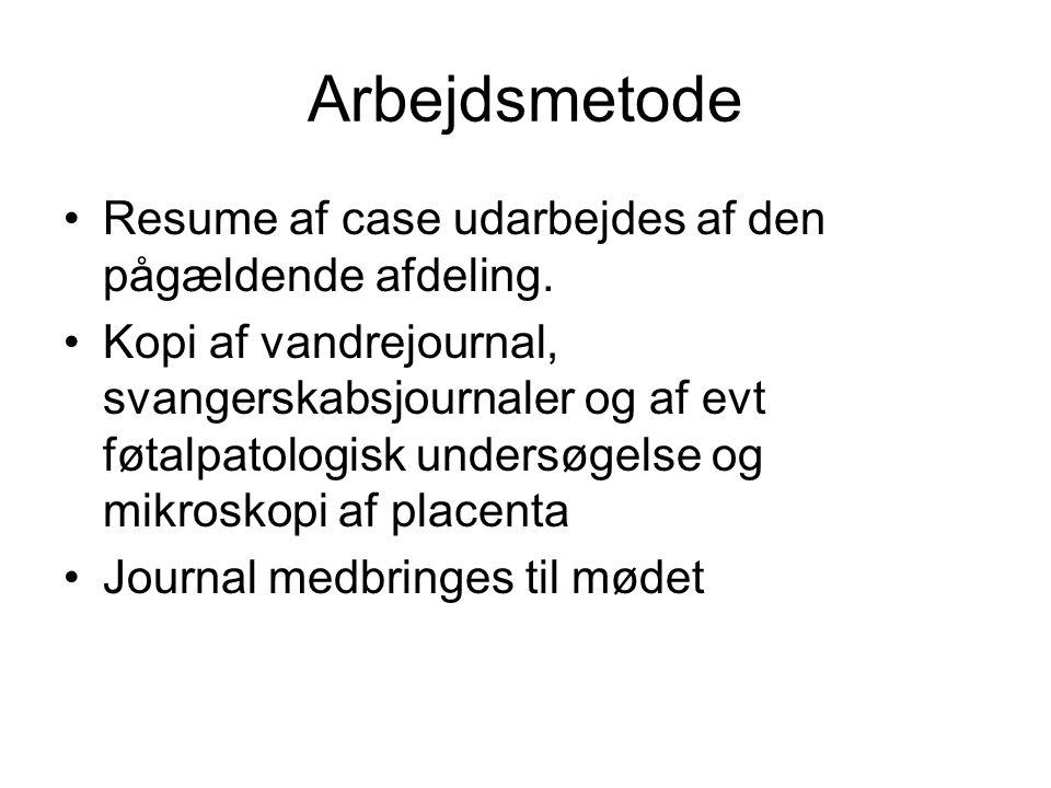 Arbejdsmetode Resume af case udarbejdes af den pågældende afdeling.