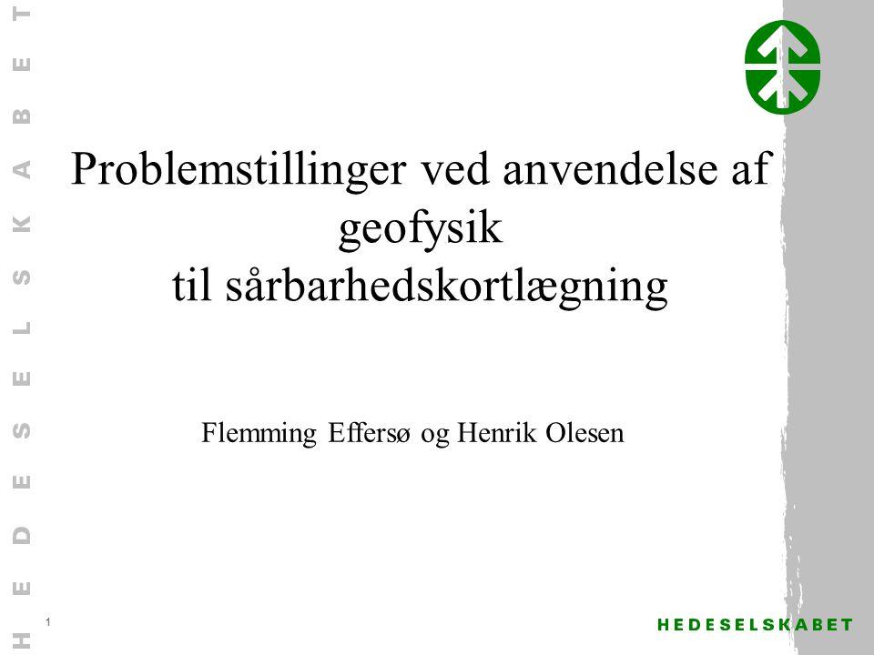 1 Problemstillinger ved anvendelse af geofysik til sårbarhedskortlægning Flemming Effersø og Henrik Olesen