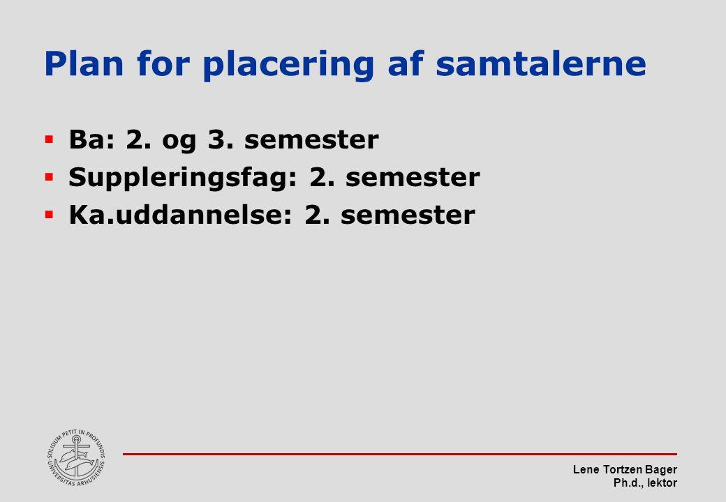 Lene Tortzen Bager Ph.d., lektor Plan for placering af samtalerne  Ba: 2.
