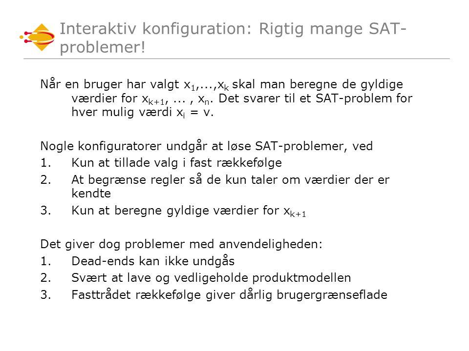 Interaktiv konfiguration: Rigtig mange SAT- problemer.