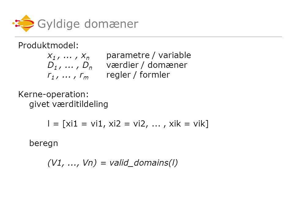 Gyldige domæner Produktmodel: x 1,..., x n parametre / variable D 1,..., D n værdier / domæner r 1,..., r m regler / formler Kerne-operation: givet værditildeling l = [xi1 = vi1, xi2 = vi2,..., xik = vik] beregn (V1,..., Vn) = valid_domains(l)
