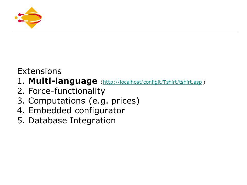 Extensions 1. Multi-language (http://localhost/configit/Tshirt/tshirt.asp ) 2.