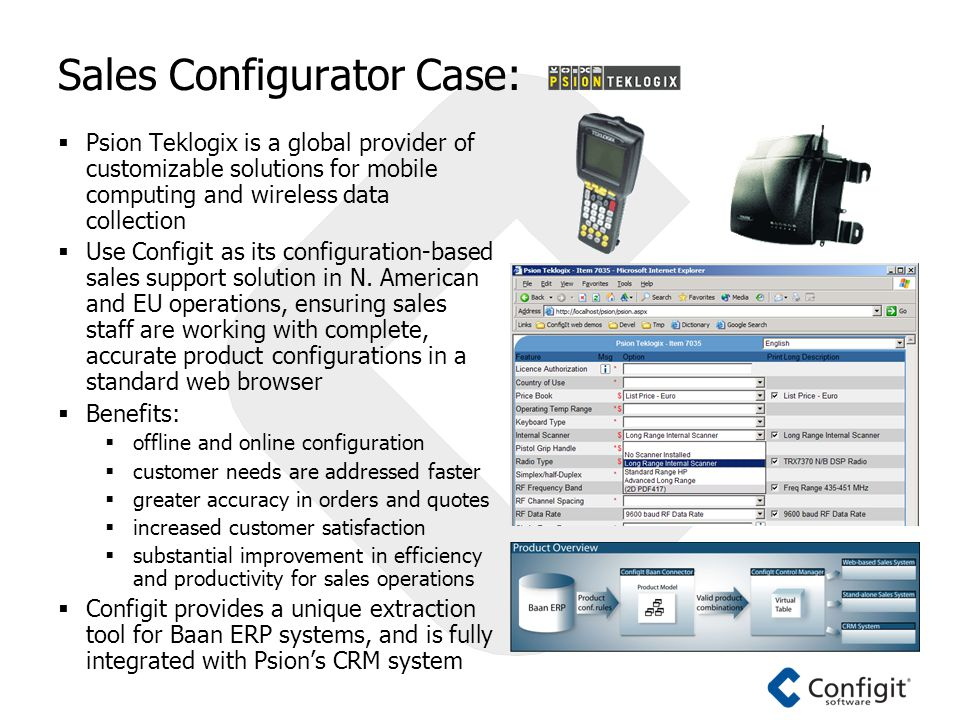 Sales Configurator Case:  Psion Teklogix is a global provider of customizable solutions for mobile computing and wireless data collection  Use Configit as its configuration-based sales support solution in N.