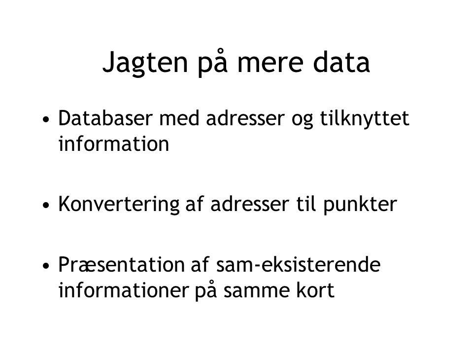 Jagten på mere data Databaser med adresser og tilknyttet information Konvertering af adresser til punkter Præsentation af sam-eksisterende informationer på samme kort