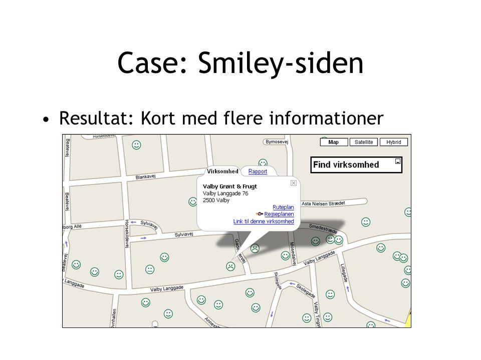 Case: Smiley-siden Resultat: Kort med flere informationer