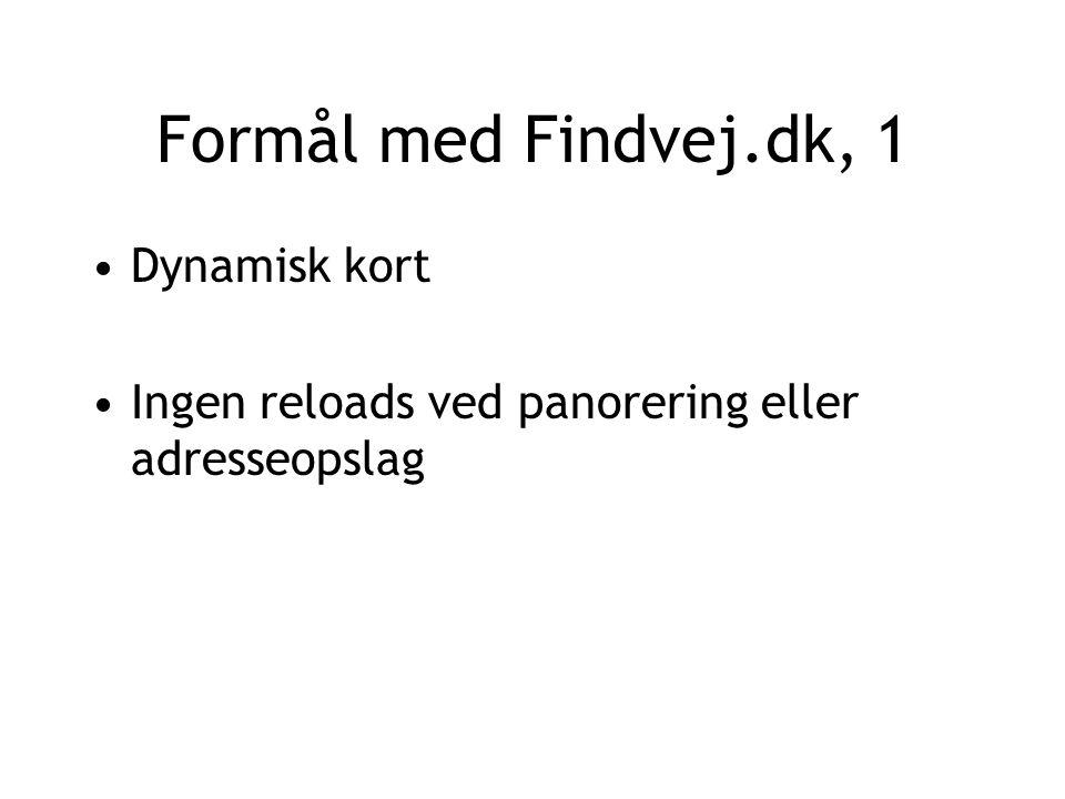 Formål med Findvej.dk, 1 Dynamisk kort Ingen reloads ved panorering eller adresseopslag
