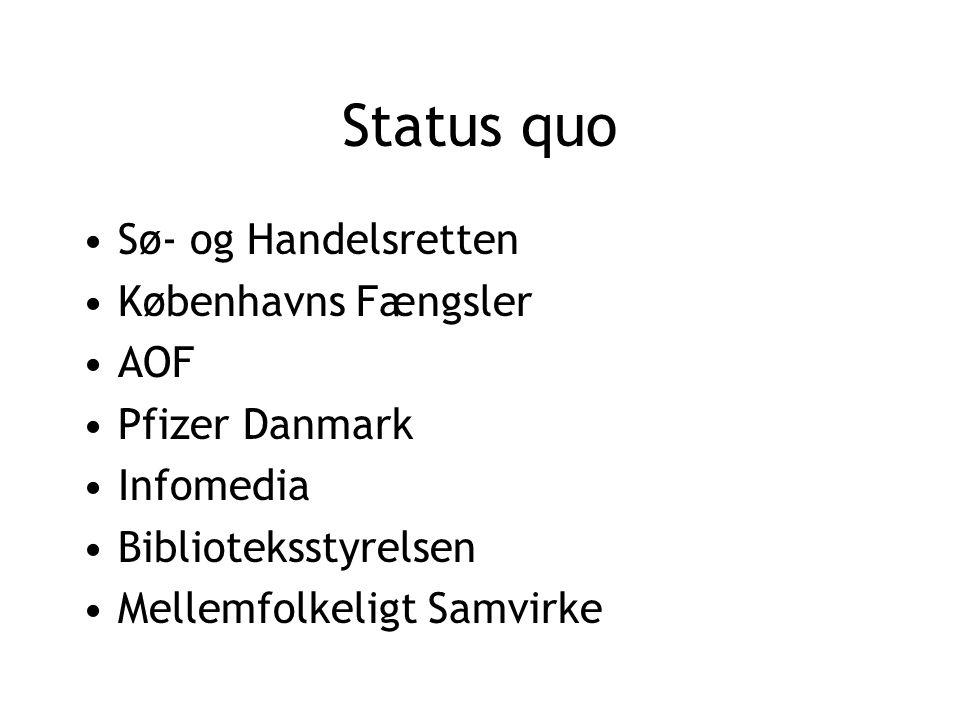 Status quo Sø- og Handelsretten Københavns Fængsler AOF Pfizer Danmark Infomedia Biblioteksstyrelsen Mellemfolkeligt Samvirke