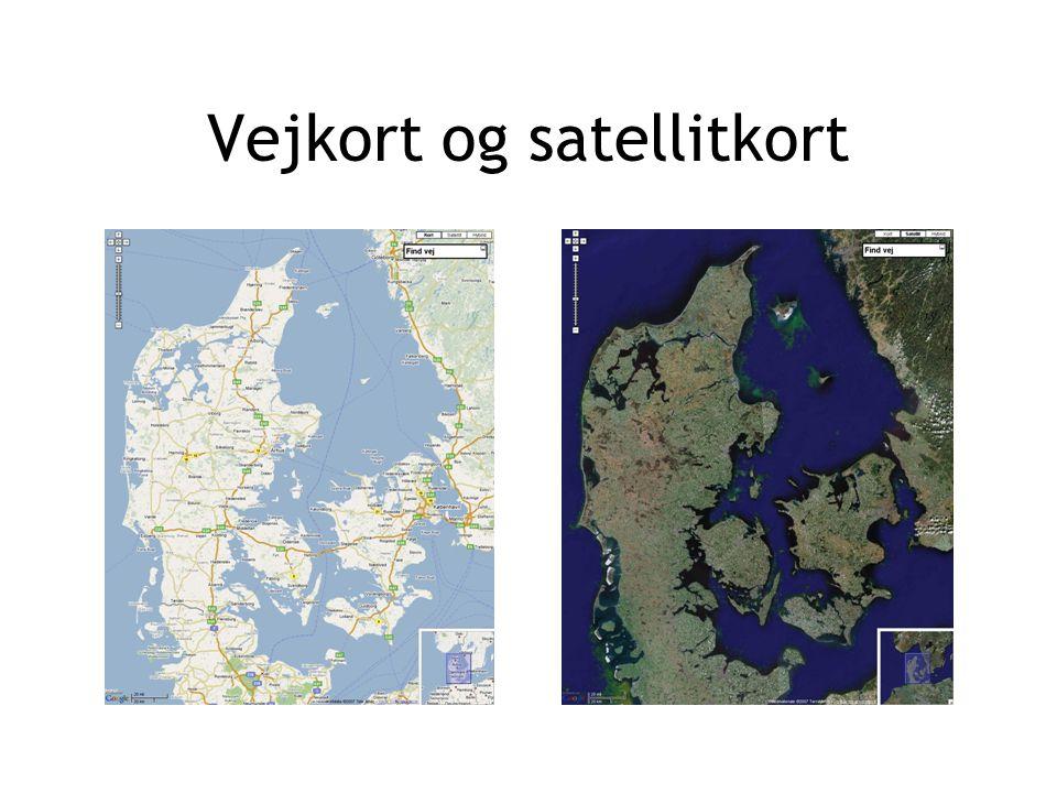 Vejkort og satellitkort