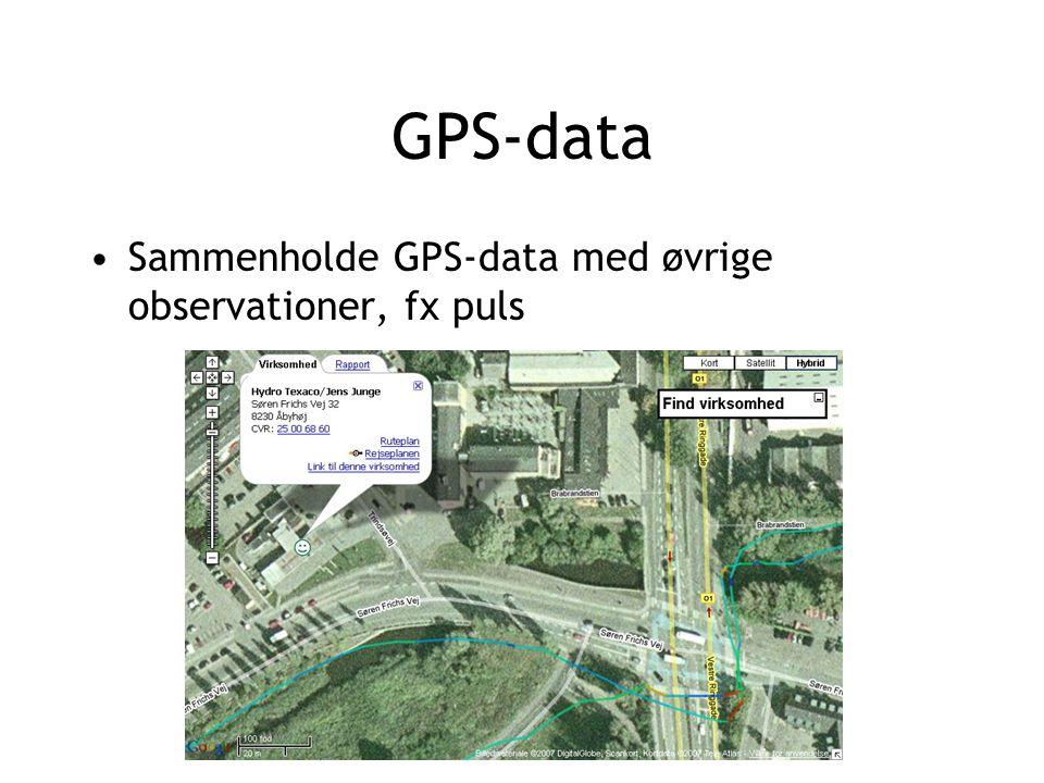 GPS-data Sammenholde GPS-data med øvrige observationer, fx puls
