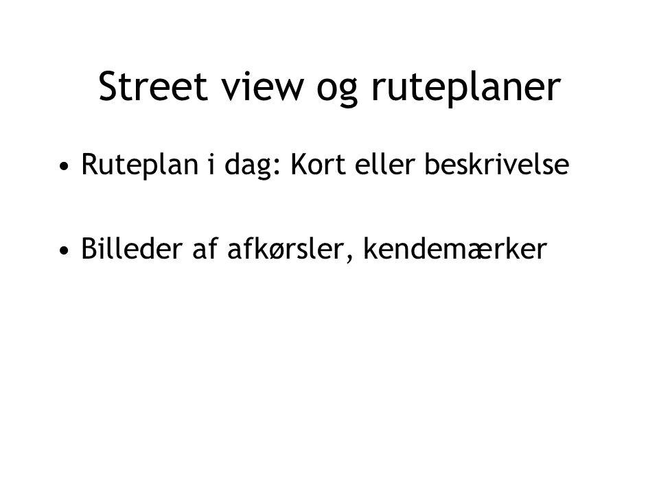 Street view og ruteplaner Ruteplan i dag: Kort eller beskrivelse Billeder af afkørsler, kendemærker