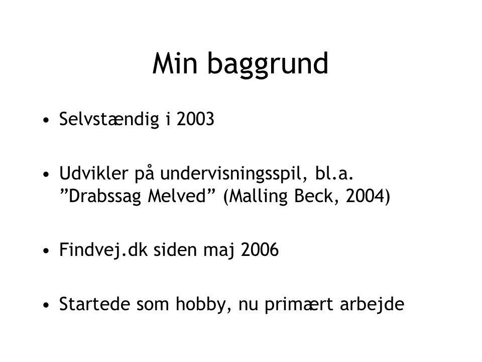Min baggrund Selvstændig i 2003 Udvikler på undervisningsspil, bl.a.