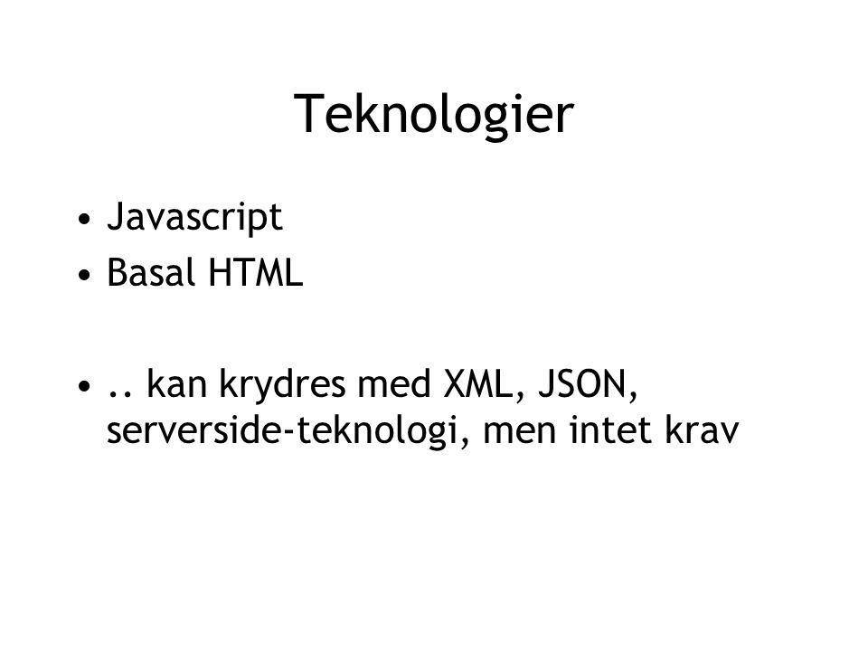 Teknologier Javascript Basal HTML.. kan krydres med XML, JSON, serverside-teknologi, men intet krav