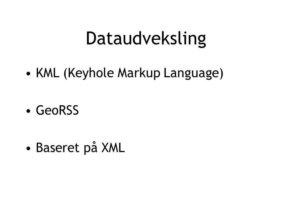 Dataudveksling KML (Keyhole Markup Language) GeoRSS Baseret på XML