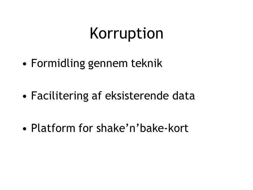Korruption Formidling gennem teknik Facilitering af eksisterende data Platform for shake'n'bake-kort