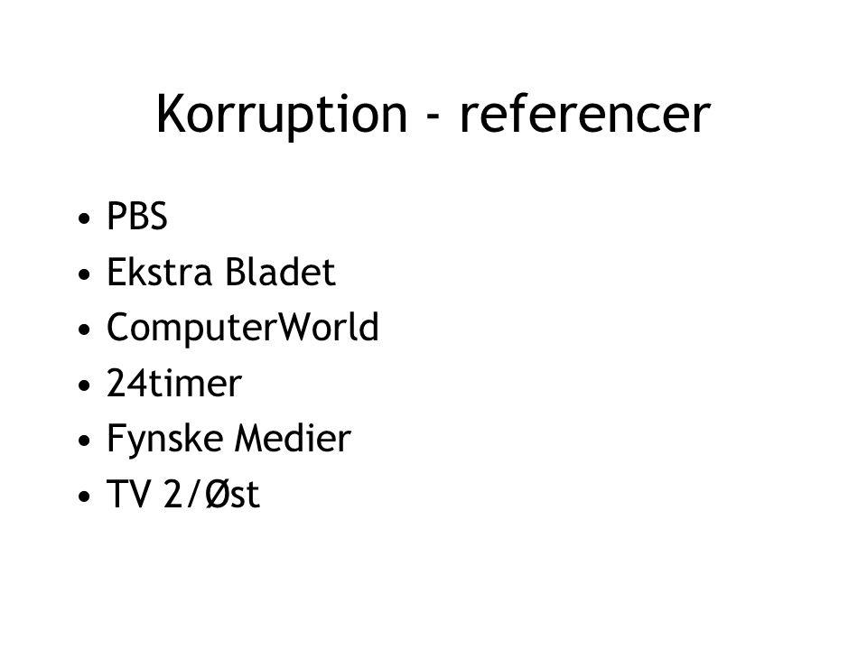 Korruption - referencer PBS Ekstra Bladet ComputerWorld 24timer Fynske Medier TV 2/Øst