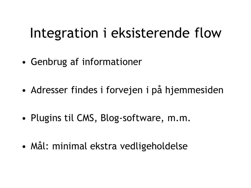 Integration i eksisterende flow Genbrug af informationer Adresser findes i forvejen i på hjemmesiden Plugins til CMS, Blog-software, m.m.